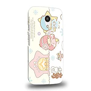 Case88 Premium Designs Little Twin Star Kiki And Lala Dreamy Diary 1347 Carcasa/Funda dura para el Motorola Moto G (2nd Gen.)