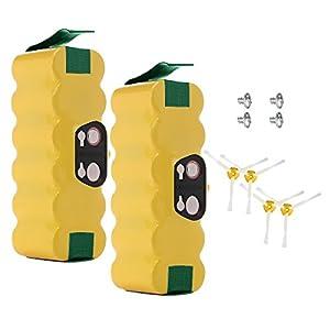 Powerextra 3500 mAh Ni-MH 2 Batteries iRobot Roomba + 4 Brosses Latérales pour Roomba R3 500 600 700 800 900 Séries500 510 530 531 535 536 540 550 552 560 562 570 580 595 600 620 630 650 660 700 760