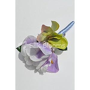 Beautiful Silk Artificial Purple Iris and Hydrangea Wedding Buttonhole 2