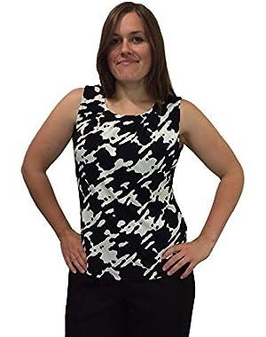 Calvin Klein Women's Soft Pleated Neckline Sleeveless Blouse in Black & White