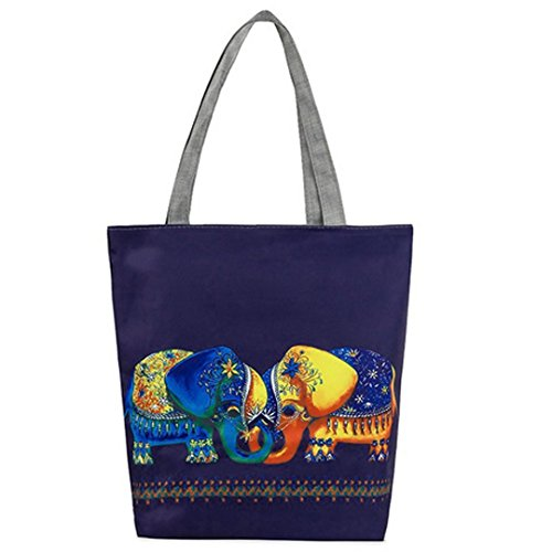 LA HAUTE Canvas Tote Bags Lovely Owl Print Summer Beach Handbags Shoulder Bags Large Shopping Bags Color8