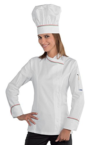 M 97 210 m² italy 3 Bianco 26091 Manica Isacco Lady Chef Bianco Lunga Giacca Cotone Spandex Gr POIZxX