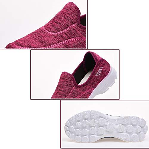 Mode Donne Rosso Signore On Scarpe Leggero Traspirante Abbigliamento Yudesun Atletico Comfortable Casual Turismo Slip FwH5AH
