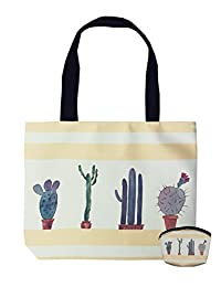 PU Zipper Top Tote Bag for Women Cactus print with Coin Purse by MissShorthair