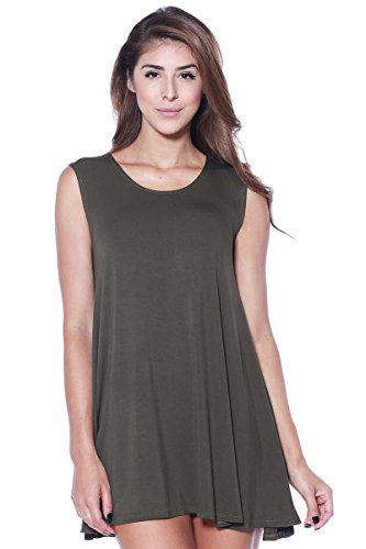 A+D Womens Loose Flowy Tank Tunic Dress Olive Large