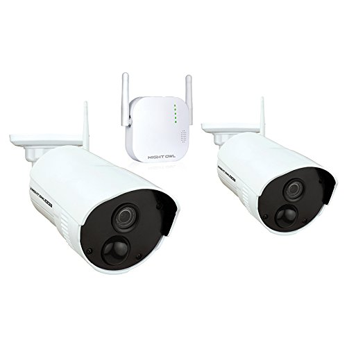 Night Owl Security 4 Channel 1080p HD Wireless Gateway with 16GB microSD Card and 2 Indoor/Outdoor Cameras, White (WG4-2OU-16SD-B)