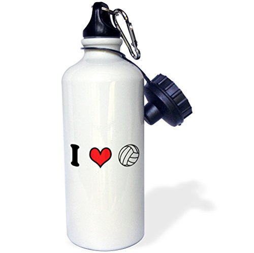 3dRose wb_159653_1 I Love Volleyball Sports Water Bottle, 21 oz, White -