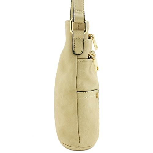 Medium Crossbody Zip Bag Triple Pocket Beige nwagq