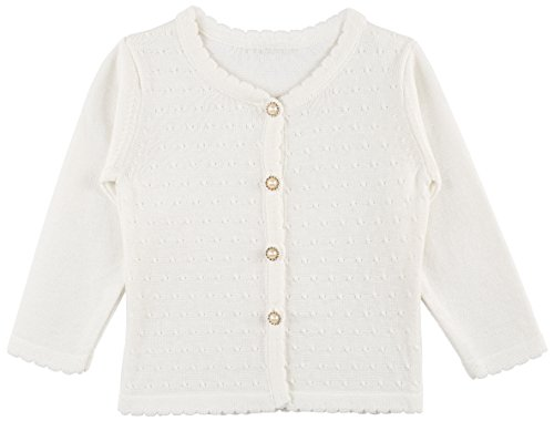 (Lilax Baby Girls' Round Neck Button Down Soft Knit Cardigan Sweater 6-9 Months Cream)