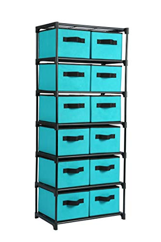 (Homebi Storage Chest Shelf Unit 12-Drawer Storage Cabinet with 6-Tier Metal Wire Shelf and 12 Removable Non-woven Fabric Bins in Turquoise,20.67