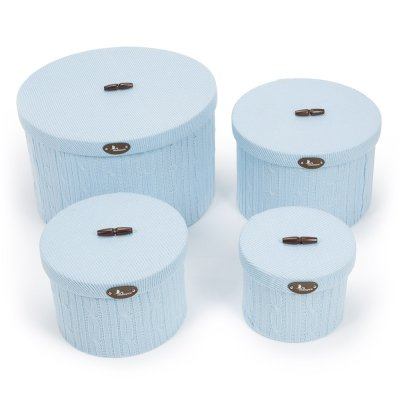Set Cajas BebeDeParis en Azul - cajas forradas en punto para la habitación del bebé
