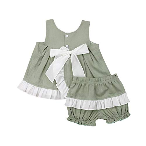 Infant Baby Girls Summer Clothes Bowknot Dress + Ruffle Shorts Casual Clothes Set 2Pcs Toddler Kids Girl Outfits Sleeveless 0-3T