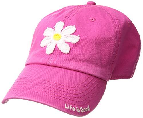 Life is Good Unisex Tattered Chill Cap Daisy, Pop Pink, One Size