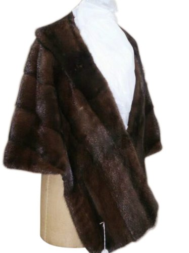 Classic Mahogany Mink Extended Front Cape w/Shawl Collar - Medium/Large Size