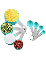 Measuring Cups and Spoons Set 8PCS Measuring Spoons Set Plastic for Dry and Liquid Green