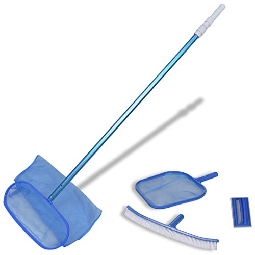 Festnight Pool Cleaning Set Above-Ground Pool Maintenance Kit with Brush, 2 Leaf Skimmers, 1 Telescopic Pole by Festnight