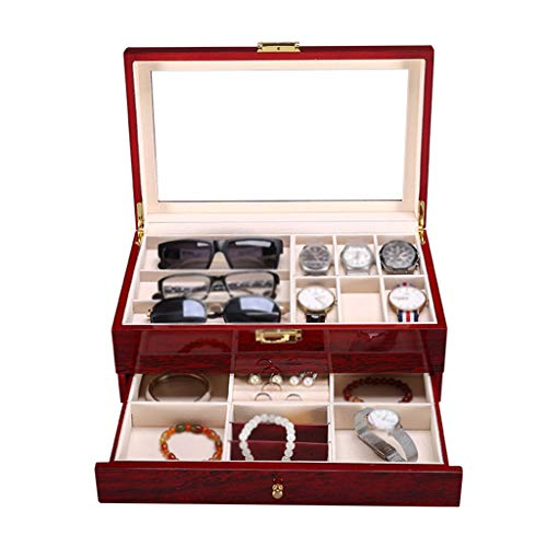 6-Slot Watch Watch Box Storage Case 2-Tier Jewellery Display Organizer with Accessories Tray Removable Cushions and Metal Buckle,Red