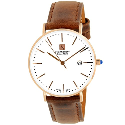 - Steinhausen Women's S0621 Classic Burgdorf Swiss Quartz Stainless Steel Watch with Brown Leather Band