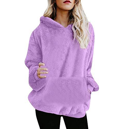 HGWXX7 Women's Hoodie Solid Winter Warm Plus Size Cotton Zipper Coat Tops Blouse Sweatshirt Outwear (3XL, X-Purple)