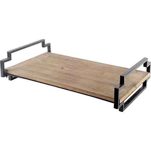 (Union Rustic Solid Wood Serving Tray with Black Iron Frame and Handles)