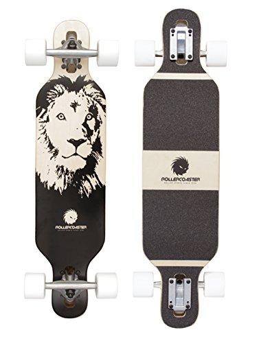 Longboard Drop Through Cruiser für Kinder - Longboard für Anfänger - Komplettboard - ROLLERCOASTER - LION