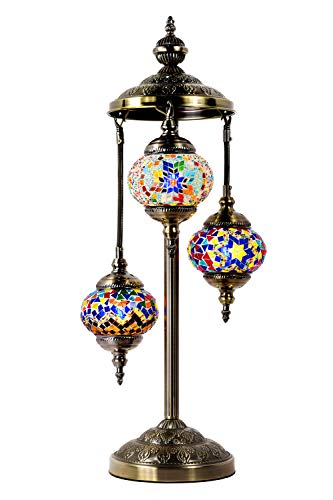 Marrakech Turkish Table Lamp 3 Globes Mosaic Glass Floor Lamp Moroccan Tiffany Style Lamp Decorative Night Light for Living Room Bedroom (Multi-Colored)