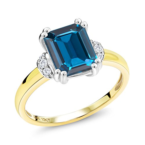 Gem Stone King 2.42 Ct Octagon London Blue Topaz Diamond Accent 10K 2 Tone Gold Ring (Size 9)