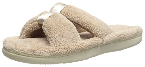 (Isotoner Women's Signature  Microterry Satin X-Slide Slipper, Taupe, 7.5-8)