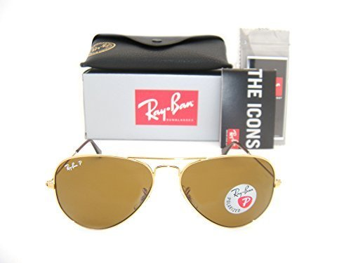 Price comparison product image Ray-Ban Aviator 3025 Gold Frame Brown Polarized RB 3025 001 / 57 58mm Small NEW