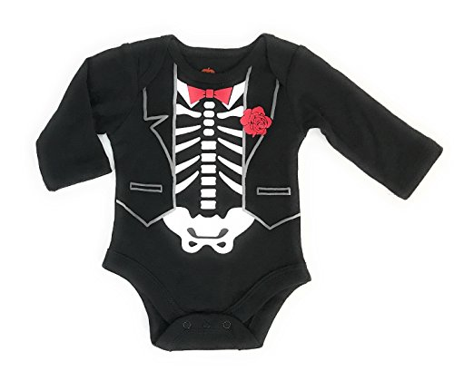 Assorted Witch, Pumpkin, Cat, Skeleton, Ghost Baby Boys & Girls Halloween Long Sleeve Bodysuit Dress Up Outfit (Newborn, Skeleton Tuxedo) ()