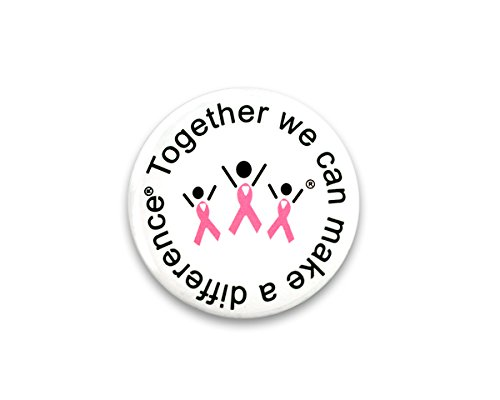 25 Pack Round Breast Cancer Awareness Pink Ribbon Difference Pins (25 Pins in Bulk)]()