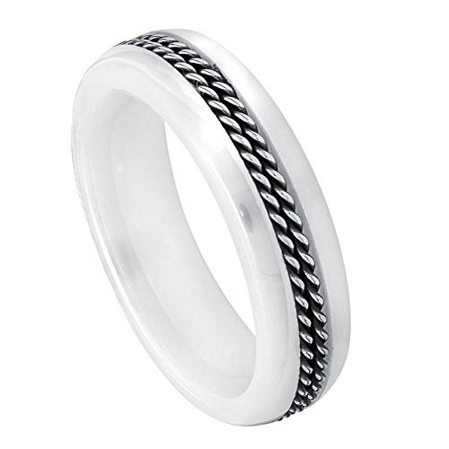 6mm - Man or Ladies - White Ceramic with Double Rope Stainless Steel Inlay Wedding Band (Steel White Ceramic)