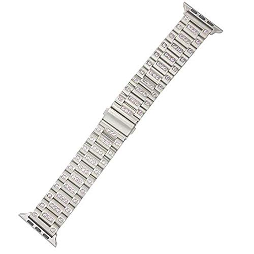 Diamonds Rose Alligator Watch - Compatible Apple Watch Straps 38mm (fit for 40mm), Luxury Rhinestone Diamond Bling Fashion Classic Wrist Steel Band for Women Men, Replacement for iWatch Series 4 3 2 1, 38/40mm