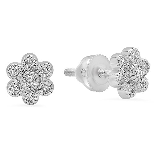 (Dazzlingrock Collection 0.20 Carat (ctw) 14K Round White Diamond Ladies Cluster Flower Shaped Stud Earrings 1/5 CT, White Gold)