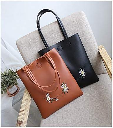 ファッションブランド大きな袋の女性の新しい年の新しいショルダーバッグシンプルなカジュアル刺繍トートバッグ大容量通勤バッグハンドバッグ若々しく可愛らしい雰囲気 (Color : Brown)