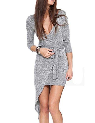 anca-demi-womens-3-4-sleeve-deep-v-neck-irregular-hem-dress-x-large