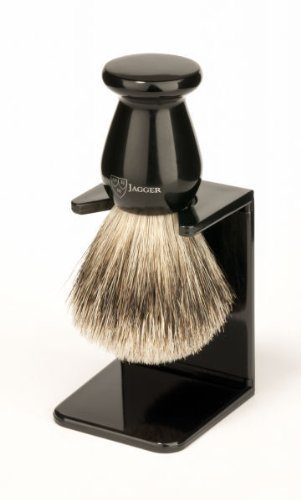 Edwin Jagger Best Badger Shaving Brush with Drip Stand - Small, Imitation Ebony by Edwin Jagger