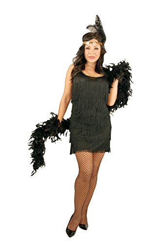 Charades Women's Plus-Size Fashion Flapper Dress, Black, -