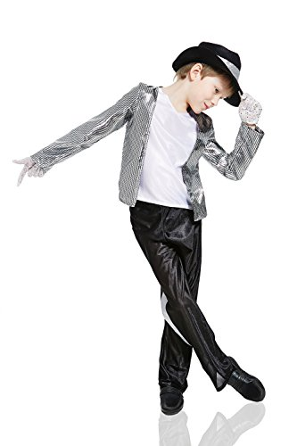 Kids Boys Pop Star Halloween Costume Moonwalker Jazz Dancer Dress Up & Role Play (3-6 years, silver, white, black)
