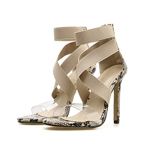 Summer Ladies' Sandals,CSSD Women's Snake Print Sexy Crystal Shoes Cross Strap Open Toe Zipper High-Heels Shoes (6, Khaki)