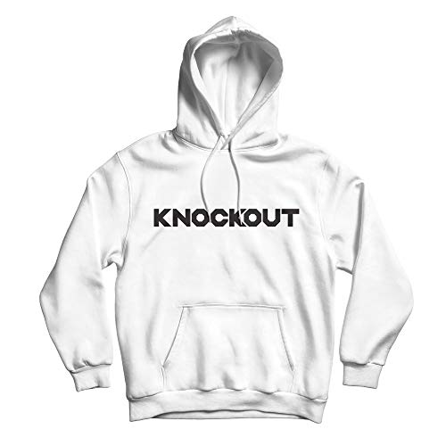 GOLDEN STITCH NEEDLE Knockout Hoodie, Unisex Boxing Club Pullover Sweatshirt (White, Medium)
