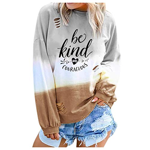 Spring Color  Women's Basic Printed Rainbow Color Shirt Be Kind & Gourageous Long Sleeve O Neck Tops Tee ()