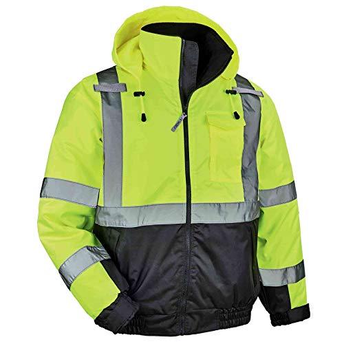 High Visibility Reflective Winter Bomber Jacket, Black Bottom, ANSI Compliant, Ergodyne GloWear 8377