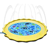 Fealay 59'' Kids Sprinkle and Splash Play Mat Inflatable Summer Water Pad Outdoor Sprinkler padToy Swimming Party for Kids Children Infants Toddlers Boys Girls