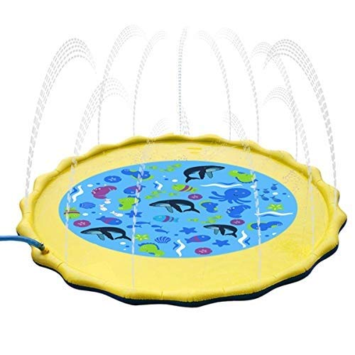 Fealay 59'' Kids Sprinkle and Splash Play Mat Inflatable Summer Water Pad Outdoor Sprinkler padToy Swimming Party for Kids Children Infants Toddlers Boys Girls by Fealay (Image #7)