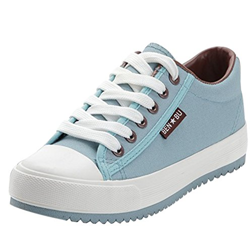 Oasap Women's Casual Low Top Flat Platform Sneakers Light Blue bfwsv2co9