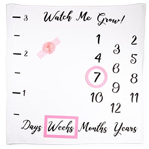 Baby Monthly Milestone Blanket Girl | Bonus Ruler, Frames, Headband & eBook | Best Baby Shower & Gender Reveal Gift | Photography Backdrop Prop for Newborn Boy & Girl