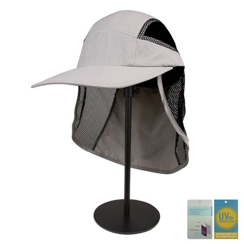(Juniper Outdoor UV Cap with Mesh Flap and Sides, One Size, Light Grey)