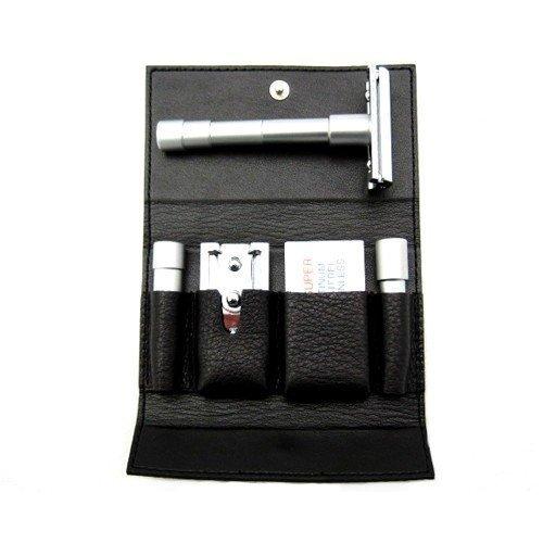 Merkur 3-Piece Travel Razor w/Blades In Black Leather Case