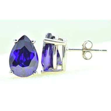 2.34CTW .925 Sterling Silver Genuine Natural Amethyst Pear Shaped 6 x 8 mm. Solitaire Stud Earrings